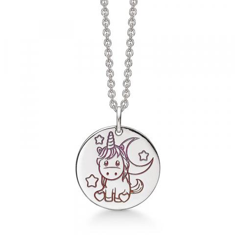 Støvring Design enhörning halskedja med berlocker i silver rosa emalj