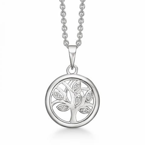 Støvring Design livets träd halskedja med berlocker i silver vit zirkon