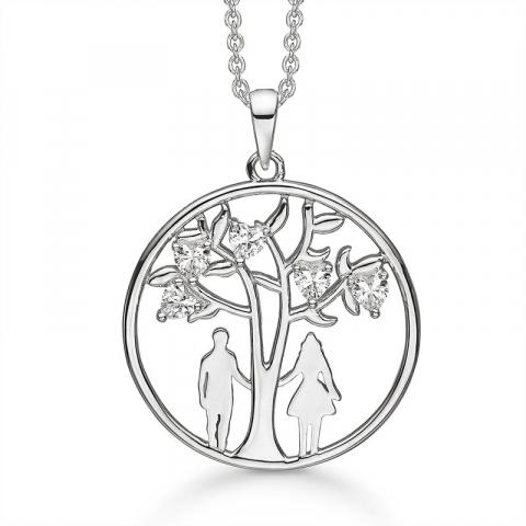 Støvring Design man och kvinna halskedja med berlocker i silver vit zirkon