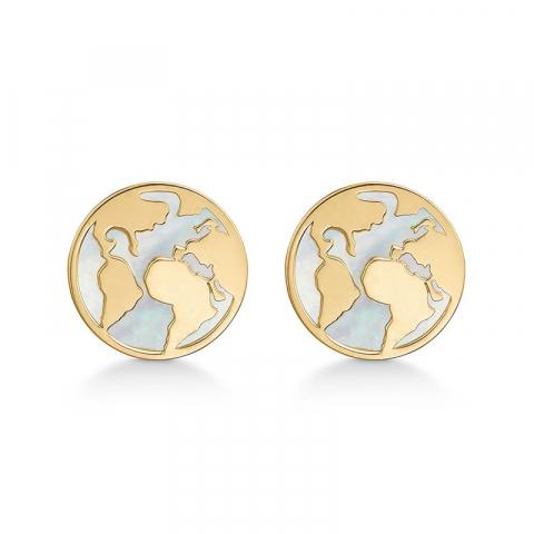 Støvring Design kort örhängen i 8 karat guld vit pärlemors