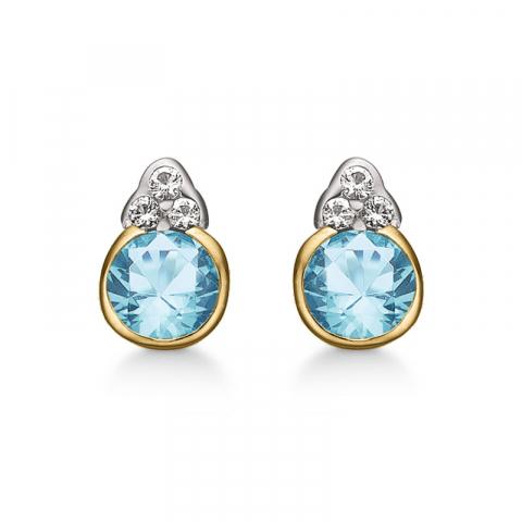 Støvring Design örhängen i 8 karat guld blå topas vit topas