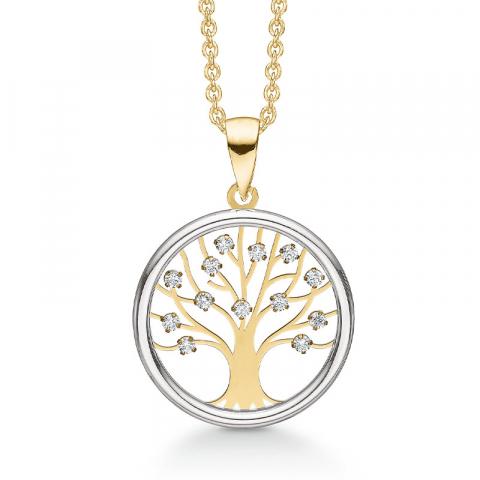 Støvring Design livets träd halskedja med berlocker i 8 karat guld vit zirkon