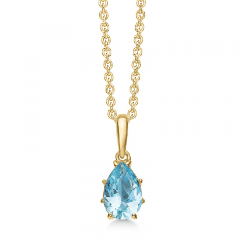 Støvring Design droppe halskedja med berlocker i 8 karat guld blå topas