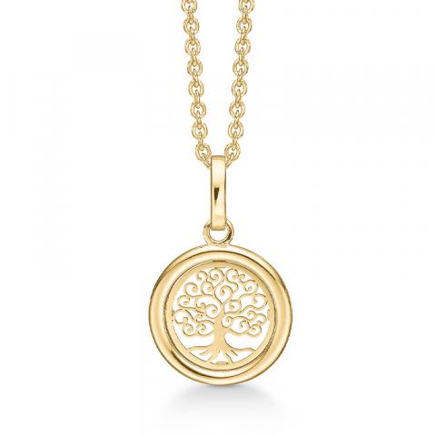 13 mm Støvring Design livets träd halskedja med berlocker i 8 karat guld