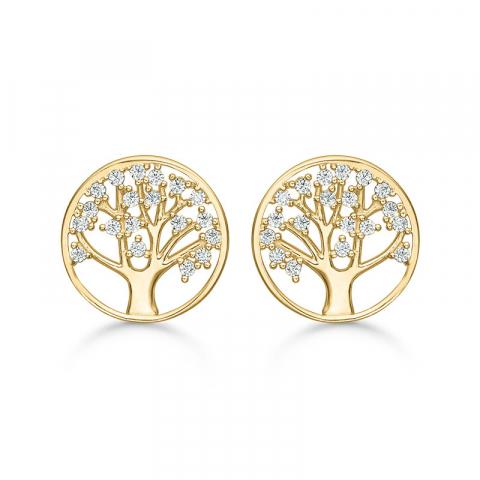 11 mm Støvring Design livets träd örhängen i 8 karat guld vit zirkon