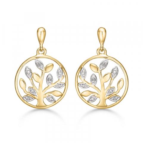 Støvring Design livets träd örhängen i 14 karat guld vit diamant