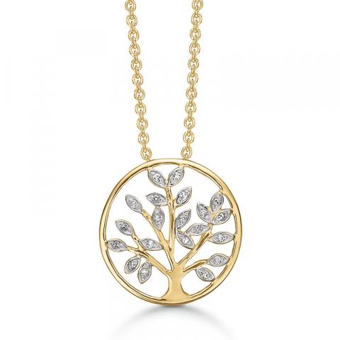 Støvring Design livets träd halskedja med berlocker i 14 karat guld vit diamant