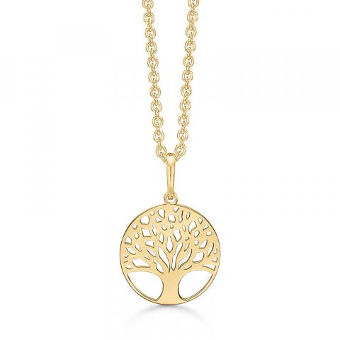 14 mm Støvring Design livets träd halskedja med berlocker i 14 karat guld med forgylld silverhalskedja