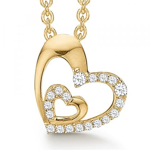 fint Støvring Design mor och barn hängen med halskedja i 8 karat guld med forgylld silverhalskedja vit zirkon