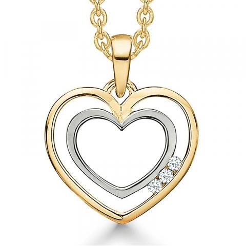 Enkel Støvring Design halskedja med berlocker i 14 karat guld med forgylld silverhalskedja vit diamant