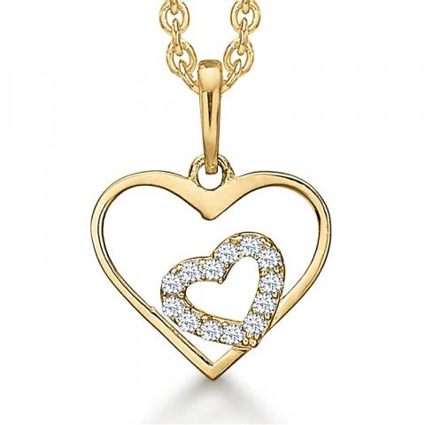 Simpelt Støvring Design mor och barn halskedja med berlocker i 14 karat guld med forgylld silverhalskedja vit zirkon