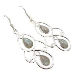 Stora droppe vita örhängen i silver