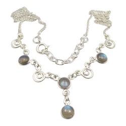Rund abstrakt multifärgat halsband i silver