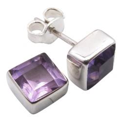 Fyrkantigt lila örhängen i silver