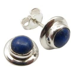 Runda blå örhängestift i silver