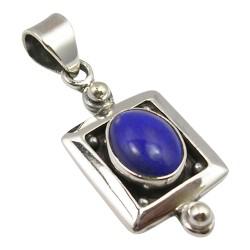 Fyrkantigt lapis lazuli hängen i oxiderat sterlingsilver