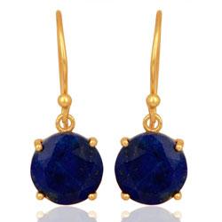 Runda lapis lazuli örhängen i förgyllt silver