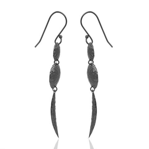 lange øreringe i rhodineret sølv