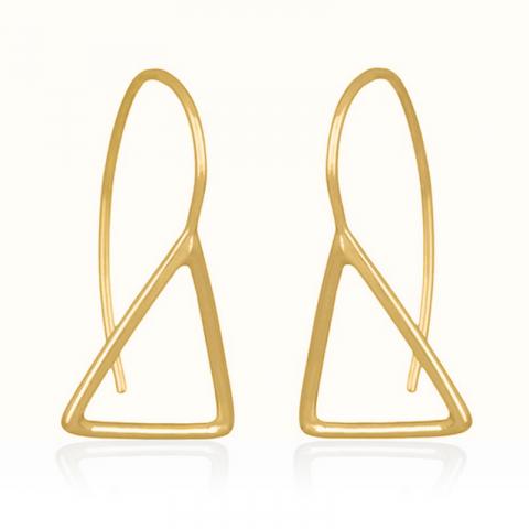 långa trekantigt örhäng i förgyllt silver