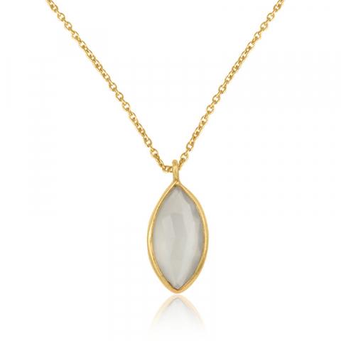 oval månsten halsband i förgyllt silver med hängen i förgyllt silver