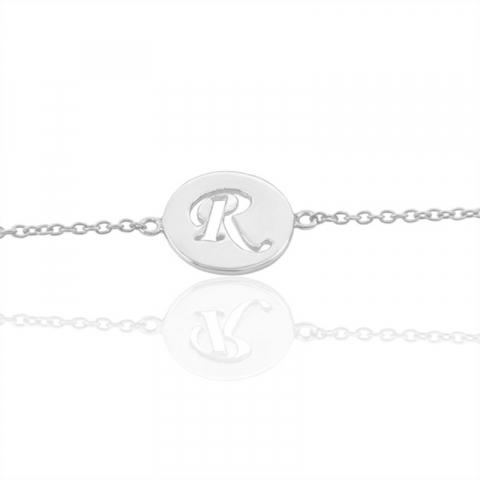 bokstav r armband i silver med hängen i silver