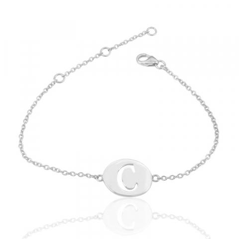 bokstav c armband i silver med hängen i silver
