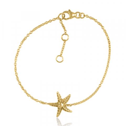stjärna armband i förgyllt silver med hängen i förgyllt silver