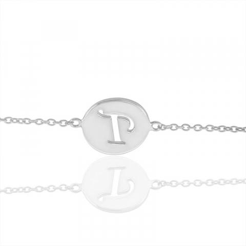 bokstav p armband i silver med hängen i silver