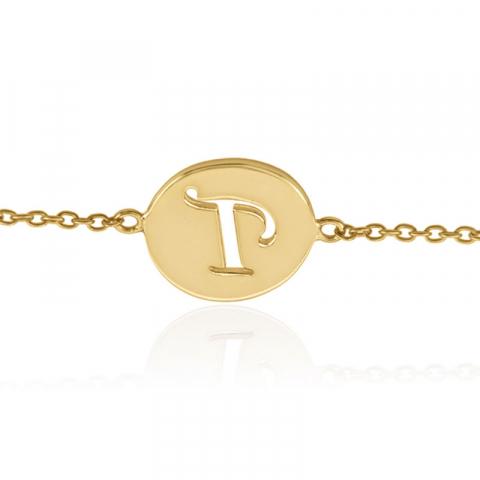 bokstav p armband i förgyllt silver med hängen i förgyllt silver