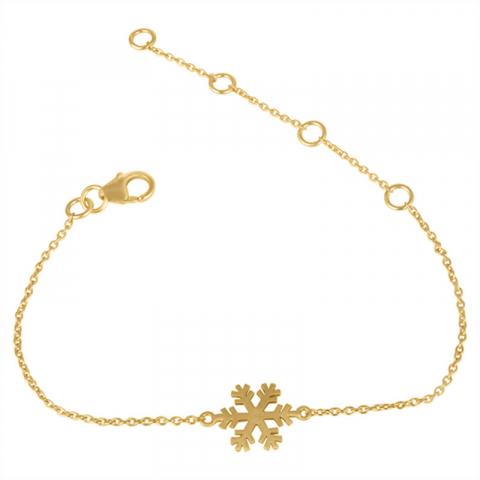 snöflinga armband i förgyllt silver med hängen i förgyllt silver