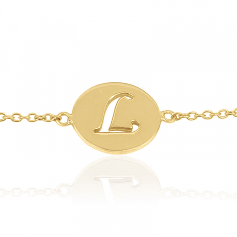 bokstav l armband i förgyllt silver med hängen i förgyllt silver