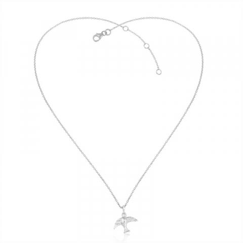 fågel halsband i silver med hängen i silver
