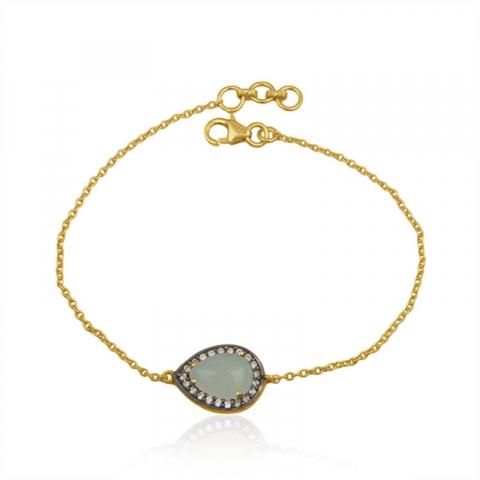 droppe armband i förgyllt silver med hängen i förgyllt silver
