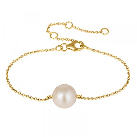 pärla armband i förgyllt silver med hängen i förgyllt silver