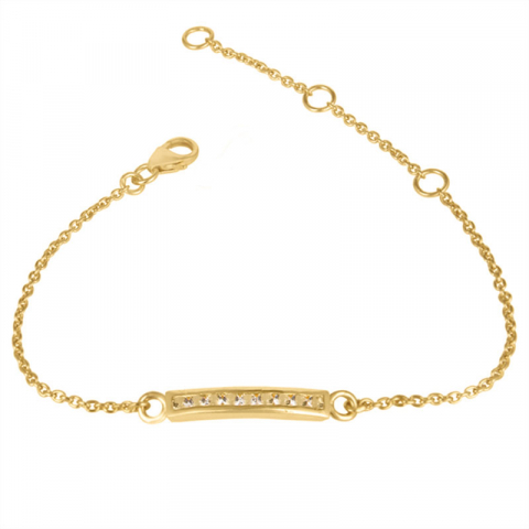 zirkon armband i förgyllt silver med hängen i förgyllt silver