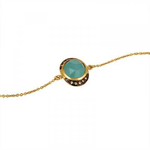 calcedonit armband i förgyllt silver med hängen i förgyllt silver