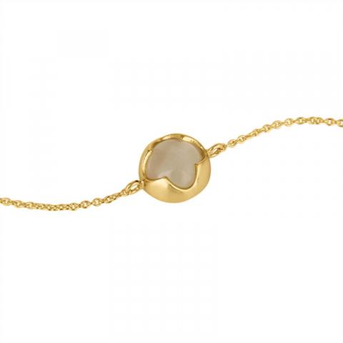 månsten armband i förgyllt silver med hängen i förgyllt silver