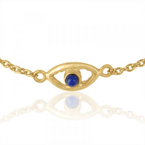 evil eye lapis lazuli armband i förgyllt silver med hängen i förgyllt silver