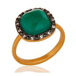 Fyrkantigt grön onyx ring i förgyllt silver med oxiderat sterlingsilver