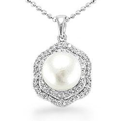 Vackert pärla hängen i silver