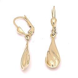 Långa droppe örhängen i 14 karat guld