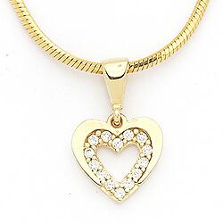 Vackert hjärta hängen i 14 karat guld