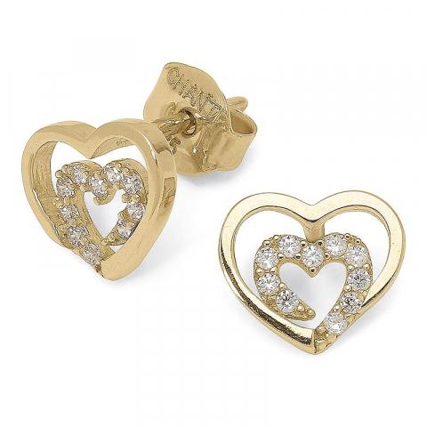 äkta  guldörhäng i 14 karat guld med zirkon