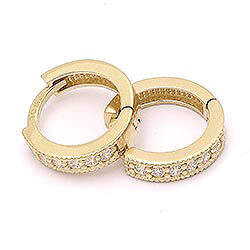 10 mm creoler örhängen i 14 karat guld med zirkon