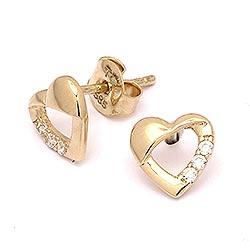 Söta hjärta örhängestift i 14 karat guld med zirkoner