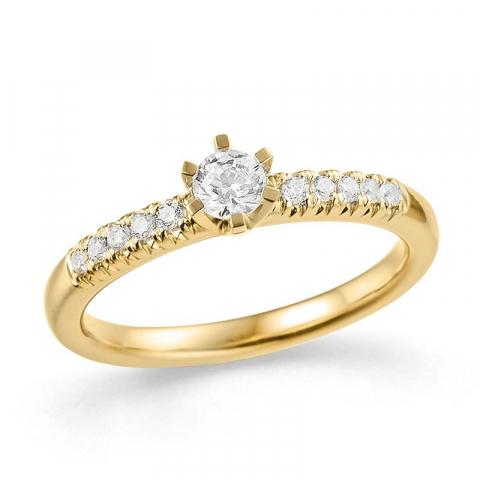 moderna diamant guldring i 14  karat guld 0,18 ct 0,12 ct