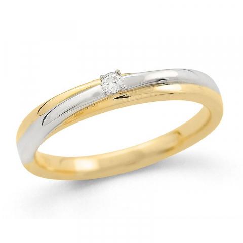 Fin diamantring i 14  karat guld- och vitguld 0,04 ct