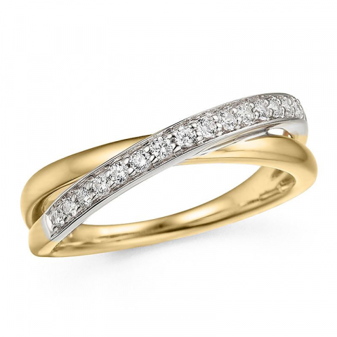 Vacker diamantring i 14  karat guld- och vitguld 0,19 ct