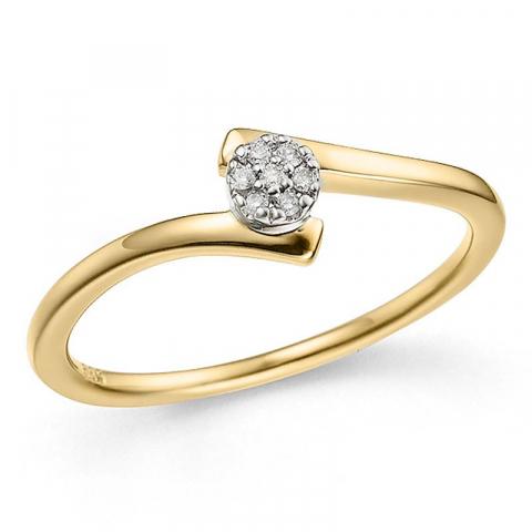 smal abstrakt diamantring i 14  karat guld 0,03 ct