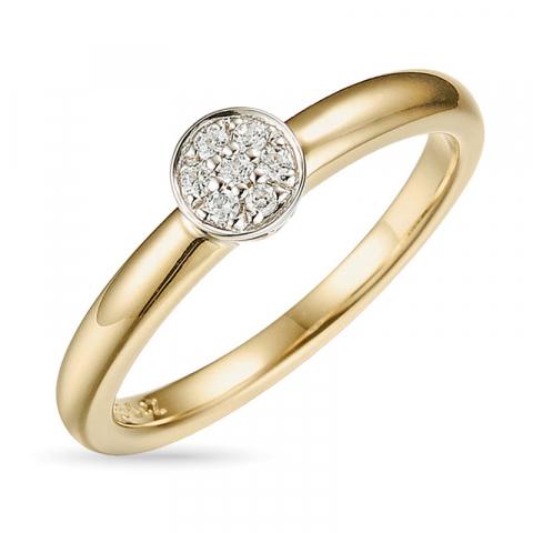 Vacker diamantring i 14  karat guld- och vitguld 0,07 ct